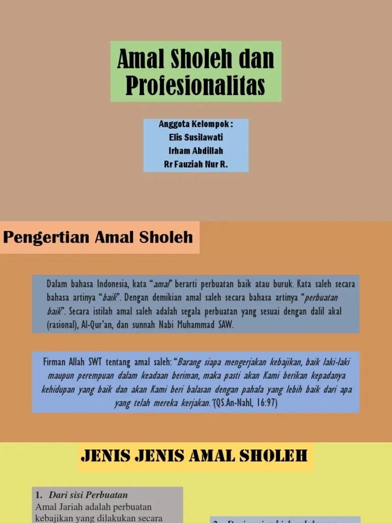 Pengertian Amal Sholeh : pengertian, sholeh, Sholeh, Profesionalitas