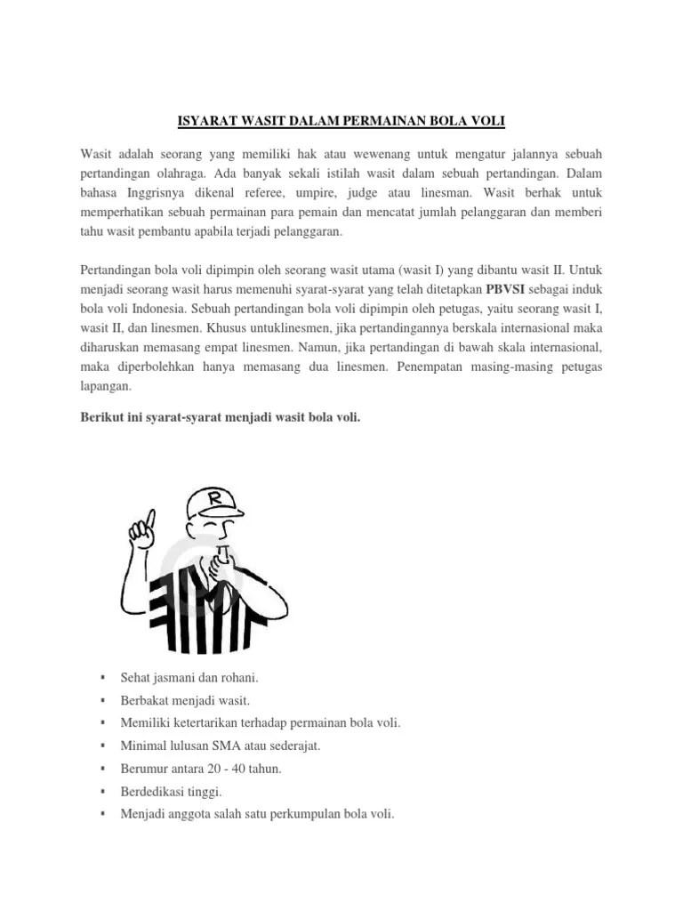 Petugas Dalam Permainan Bola Voli : petugas, dalam, permainan, Isyarat, Wasit, Dalam, Permainan