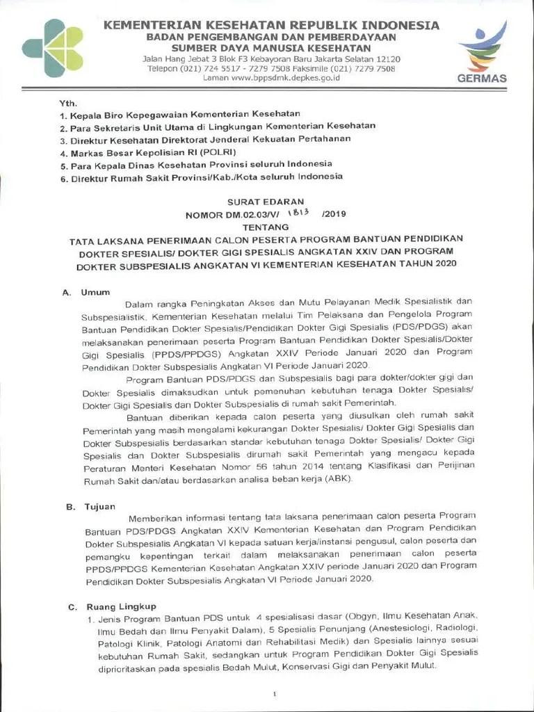 Tubel Kemenkes 2019 : tubel, kemenkes, SE_PPDS_ANGKATAN_XXIV.pdf