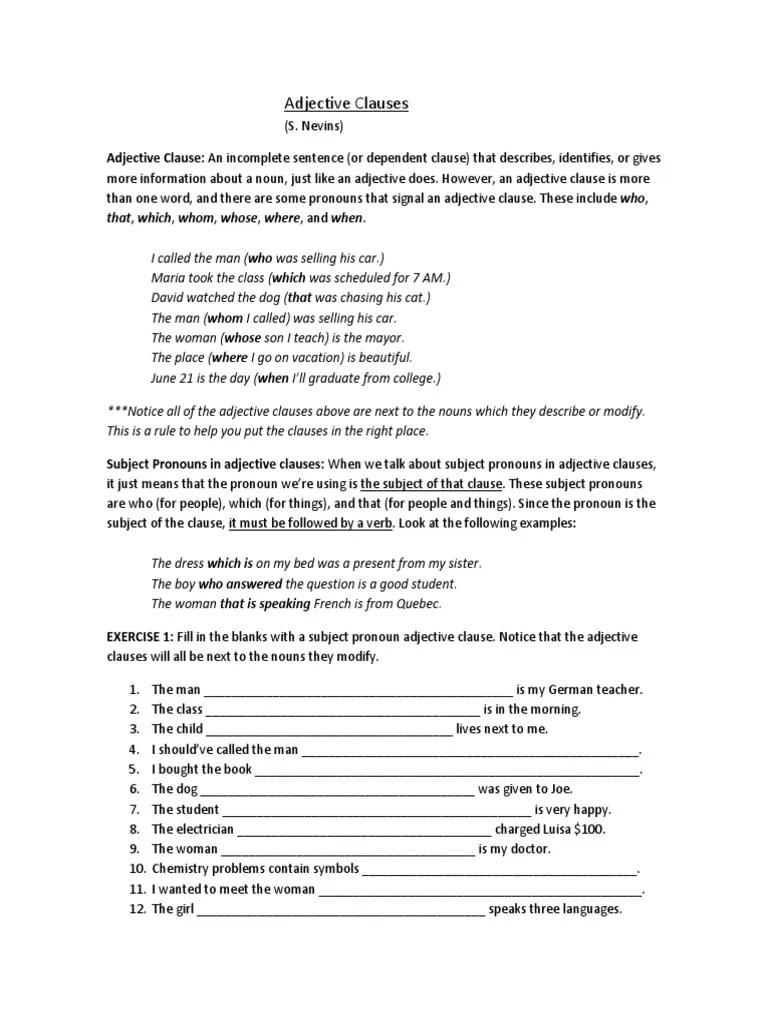 medium resolution of Adjective Clauses   Adjective   Pronoun