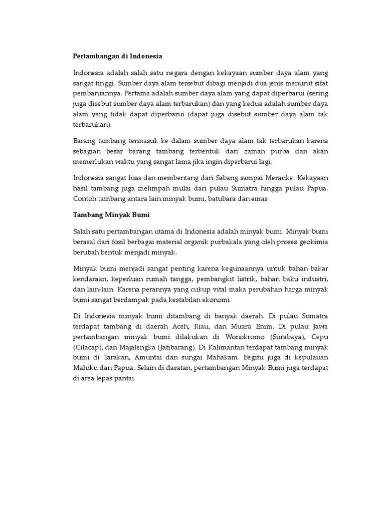 Barang Tambang Minyak Bumi : barang, tambang, minyak, Pertambangan, Indonesia