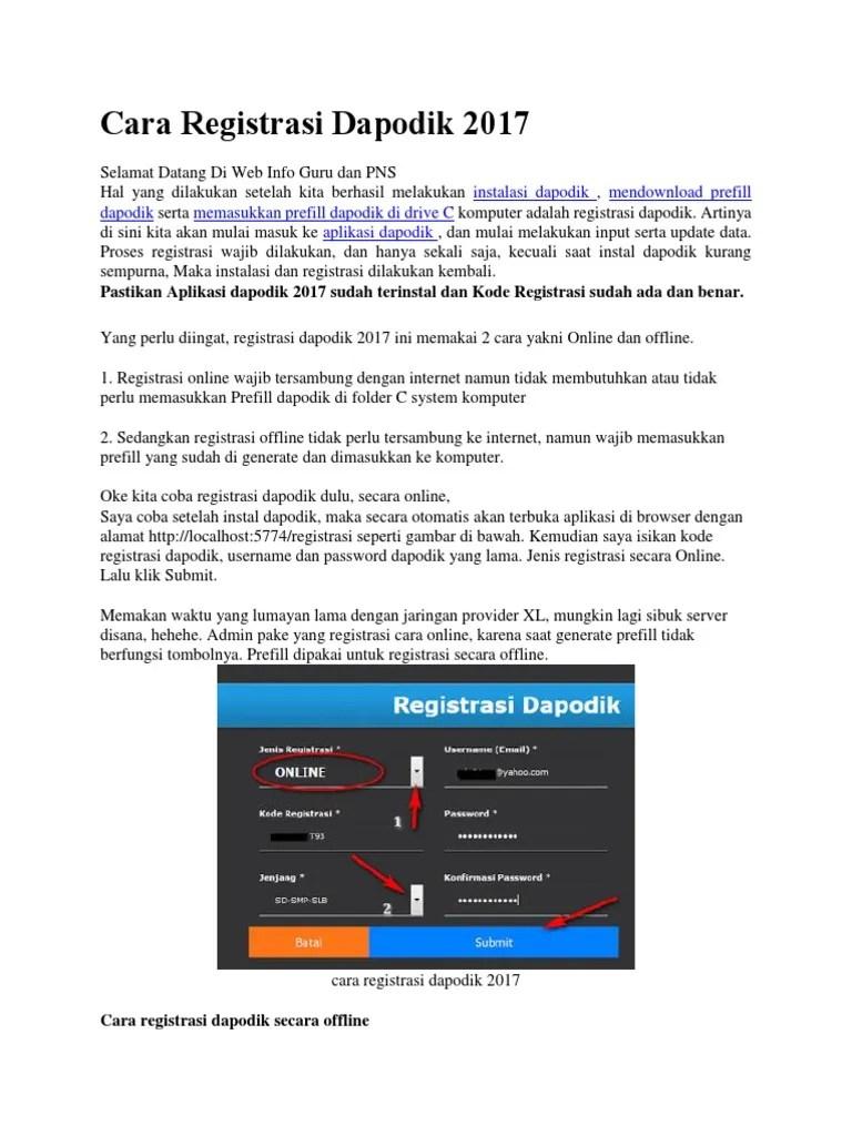 FileNya: Cara Registrasi Online & Offline Dapodik V 2016