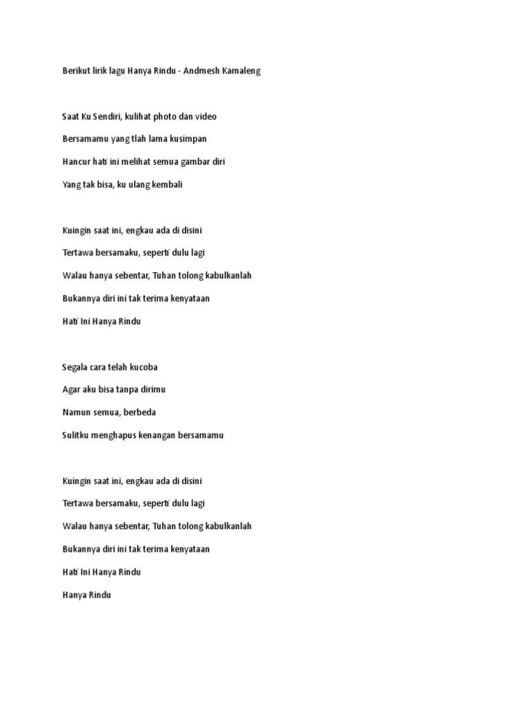 Lirik Hanya Rindu : lirik, hanya, rindu, Hanya, Rindu, Lirik