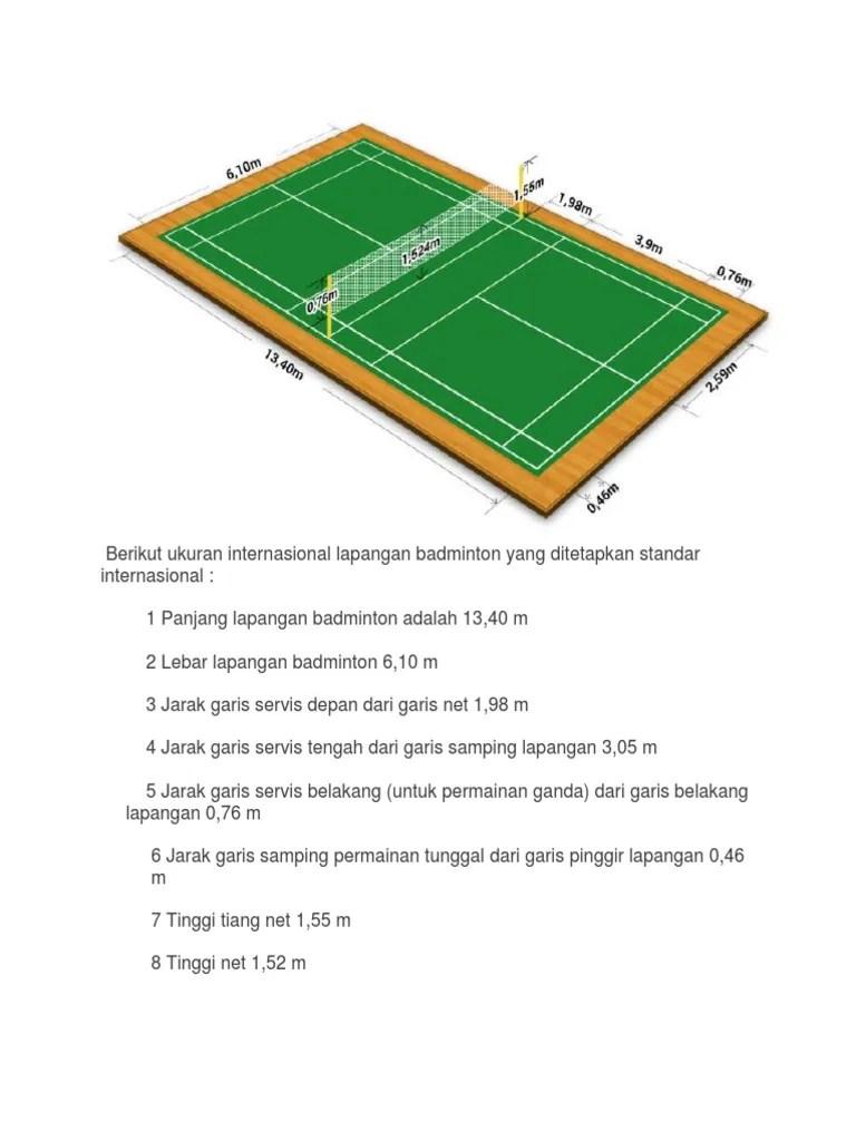 Lebar Dan Panjang Lapangan Bulu Tangkis : lebar, panjang, lapangan, tangkis, Ukuran, Lapangan, Tangkis.docx