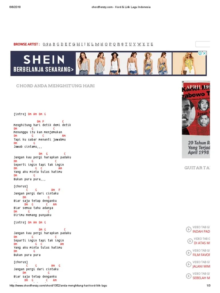 Lirik Lagu Menghitung Hari 2 : lirik, menghitung, Menghitung