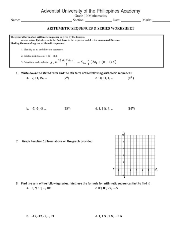 medium resolution of Arithmetic Sequence worksheet 2.docx   Sequence   Mathematical Objects