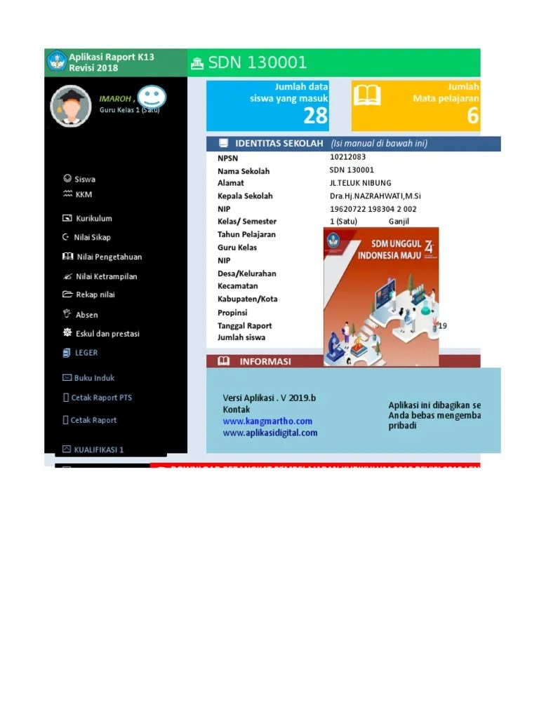 Aplikasi Raport K13 Kelas 1 Semester 2 : aplikasi, raport, kelas, semester, Master, Aplikasi, Raport, Kelas, @Kangmartho.com(1)