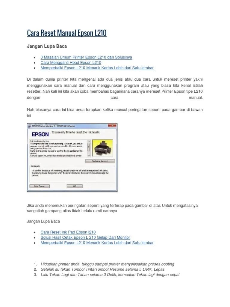 Epson L210 Reset Ink Level : epson, reset, level, Reset, Manual, Epson, L-210.pdf