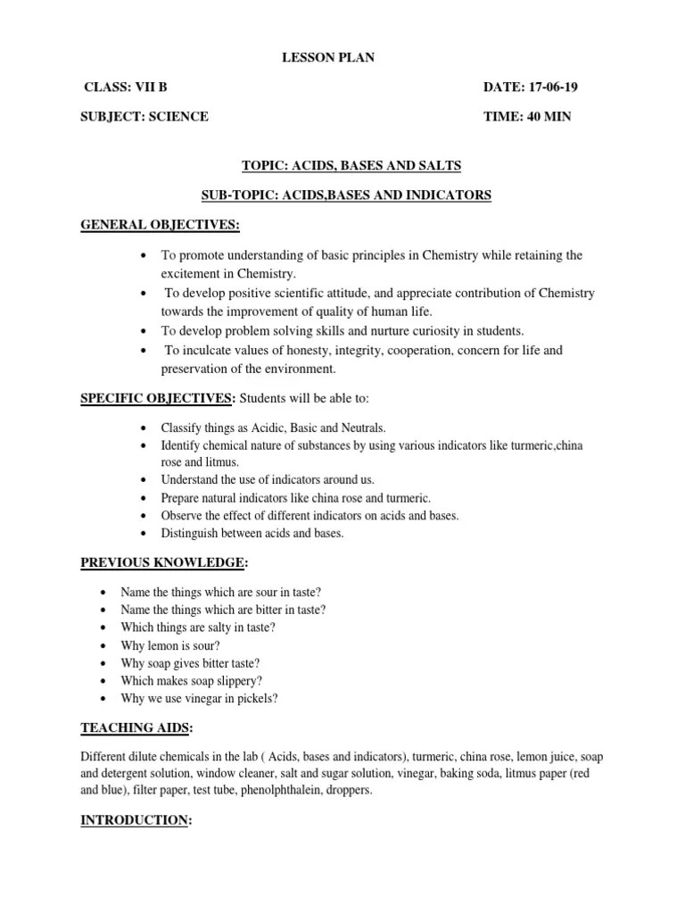 small resolution of Lesson Plan Class VII (Acids