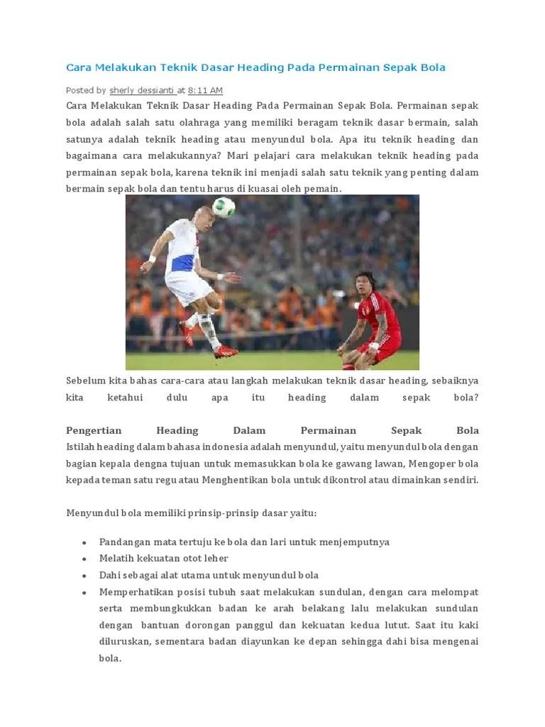 Pengertian Menyundul Bola : pengertian, menyundul, Melakukan, Teknik, Dasar, Heading, Permainan, Sepak, Bola.docx