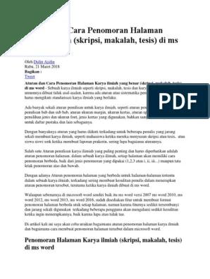 Penomoran Halaman Makalah : penomoran, halaman, makalah, Aturan, Penomoran, Halaman, Karya, Ilmiah