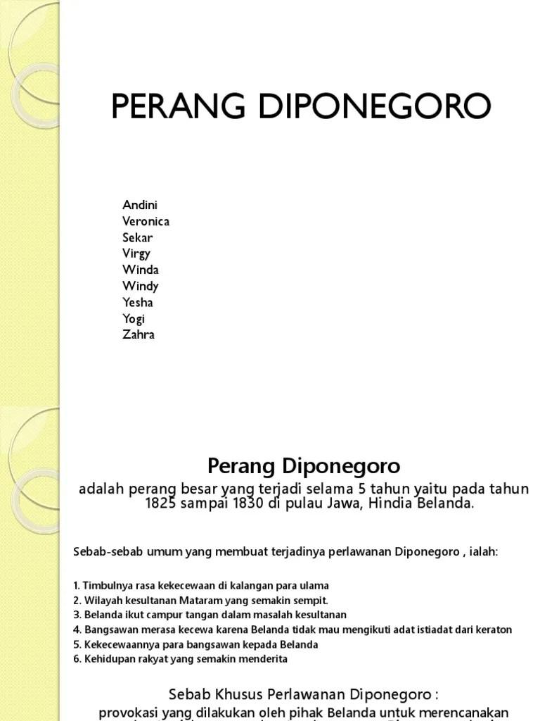 Sebab Umum Dan Khusus Perang Diponegoro : sebab, khusus, perang, diponegoro, Perang, Diponegoro:, Andini, Veronica, Sekar, Virgy, Winda, Windy, Yesha, Zahra