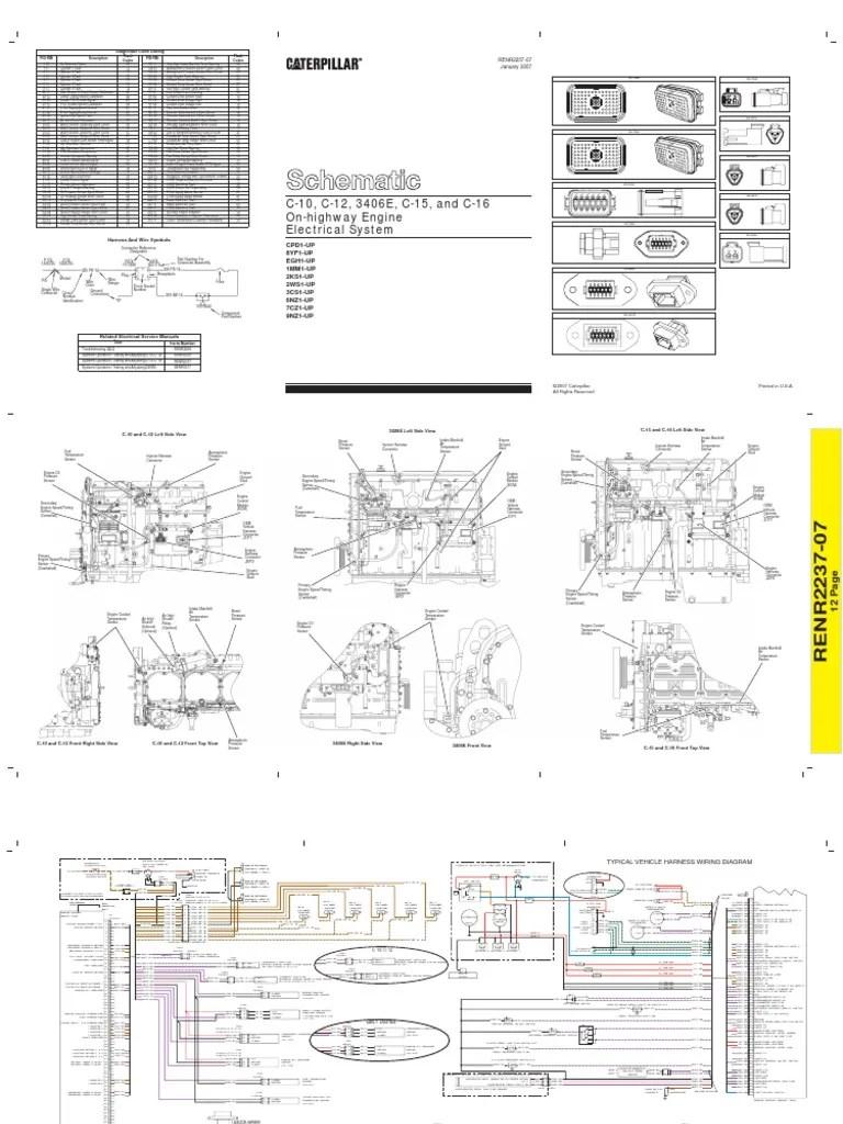 Caterpillar Wiring Diagram Diagrama Electrico Caterpillar 3406e C10 Amp C12 Amp C15 Amp C16 2