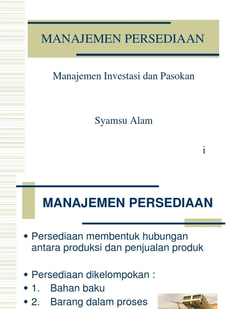Manajemen Persediaan - SDM Indonesia