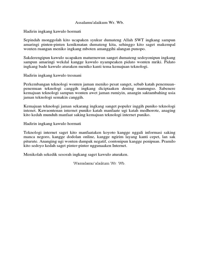 Sesorah Bahasa Jawa : sesorah, bahasa, Contoh, Pidato, Bahasa, Tentang, Kemajuan, Teknologi, (Sesorah).docx
