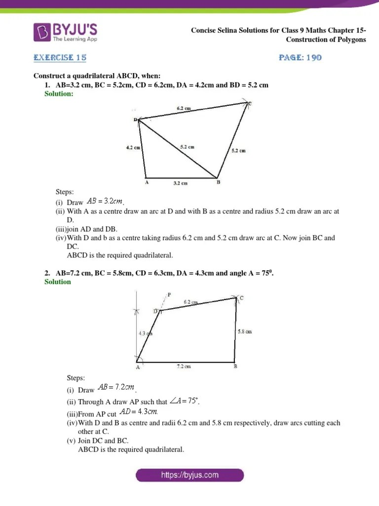 hight resolution of Concise Selina Solutions for Class 9 Maths Chapter 15 Construction of  Polygons   Rectangle   Geometric Shapes