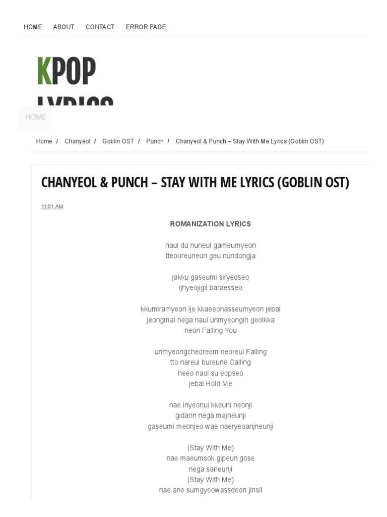 Lirik Lagu Stay With Me Ost Goblin : lirik, goblin, Chanyeol, Punch, Lyrics, (Goblin