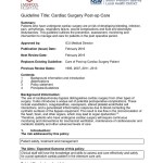 Guideline Title Cardiac Surgery Post Op Care Background Information Intensive Care Unit Cardiothoracic Surgery