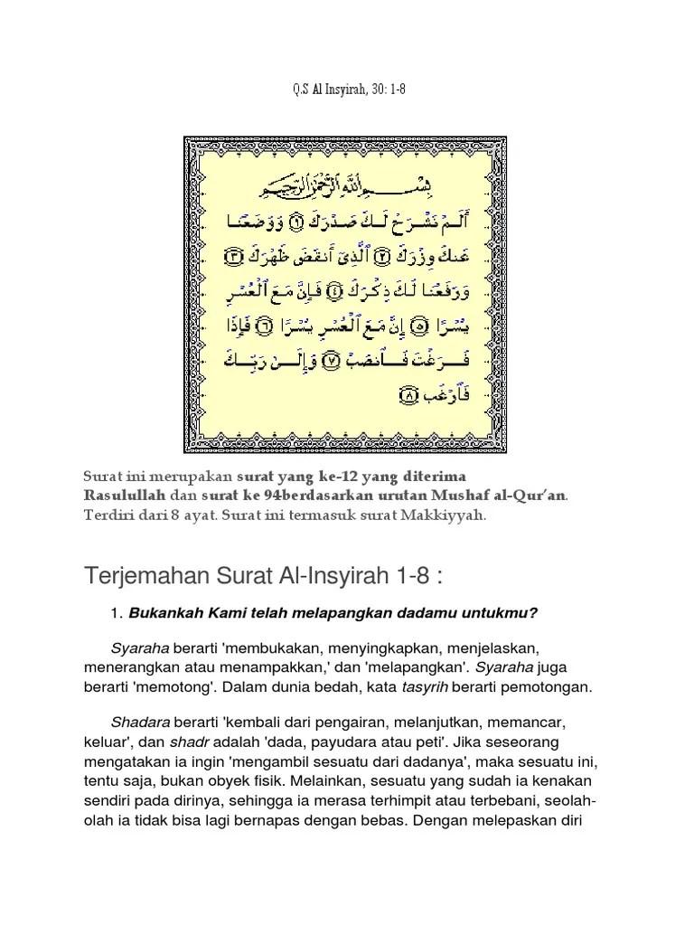 Surah Al-insyirah Ayat 1-8 Beserta Artinya : surah, al-insyirah, beserta, artinya, Surah, Insyirah