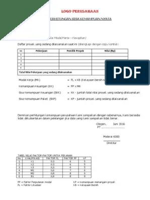 Format Excel Sisa Kemampuan Nyata : format, excel, kemampuan, nyata, Perhitungan, Kemampuan, Nyata-PT, 2016.docx