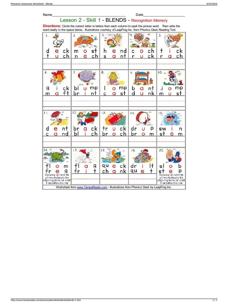 Phonemic Awareness Worksheet - Blends [ 1024 x 768 Pixel ]