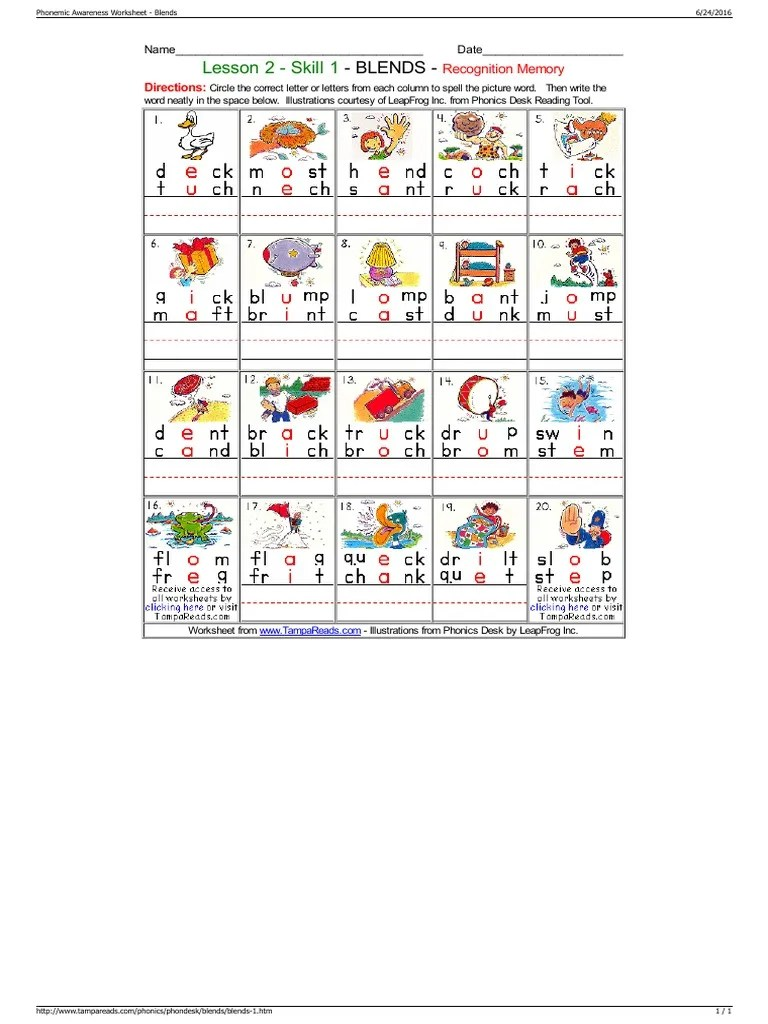 small resolution of Phonemic Awareness Worksheet - Blends