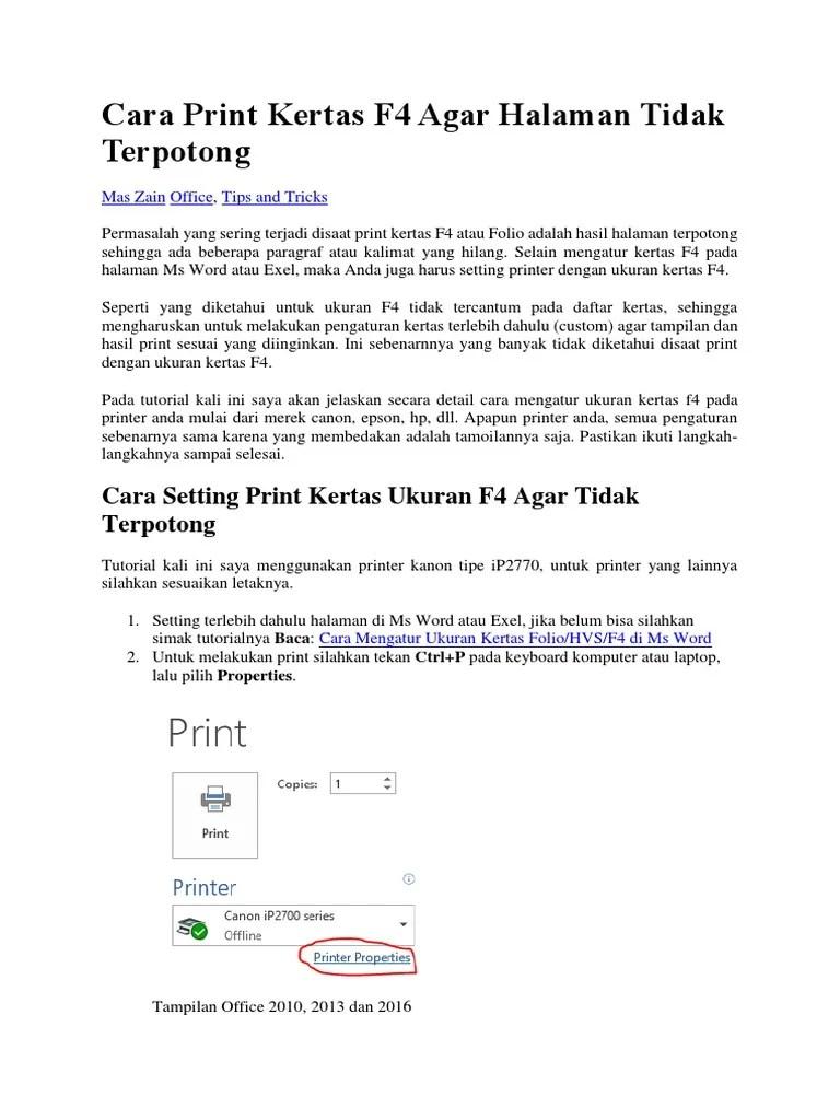 Pengaturan Kertas F4 : pengaturan, kertas, Print, Kertas, Halaman, Tidak, Terpotong