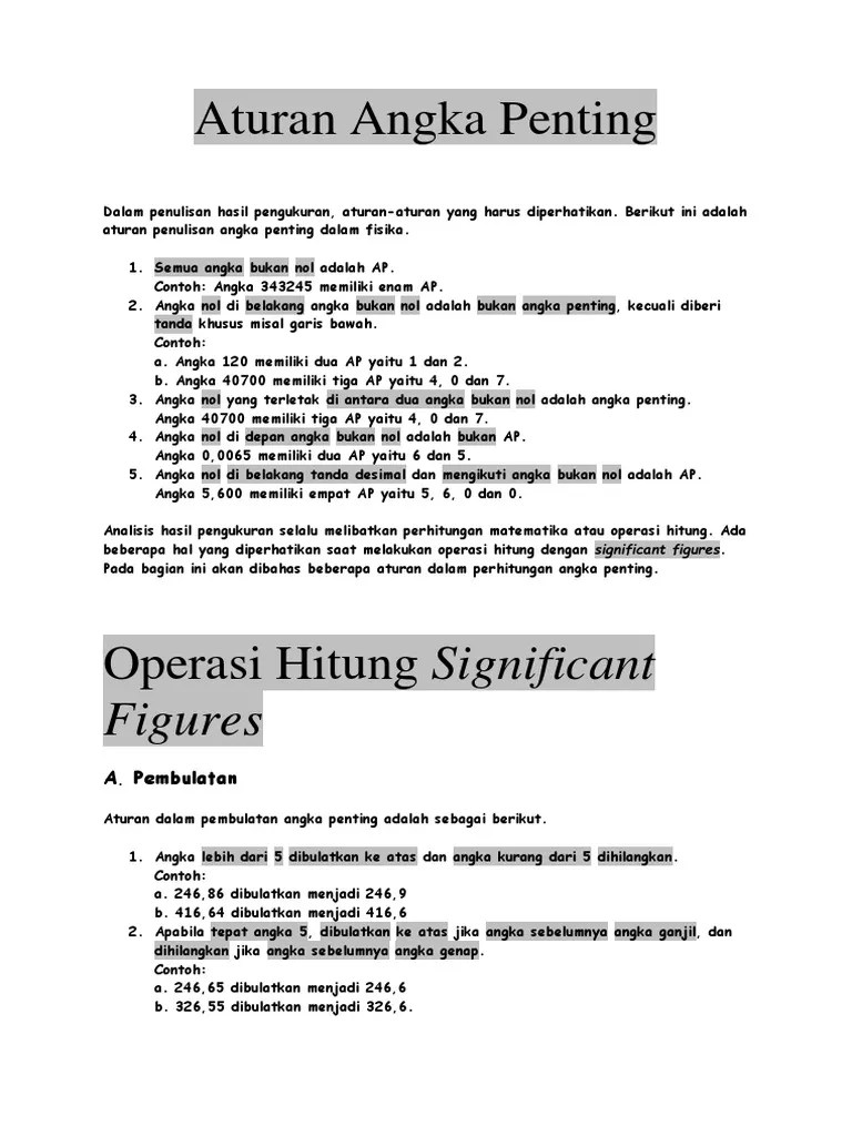 Operasi Hitung Angka Penting : operasi, hitung, angka, penting, Aturan, Angka, Penting