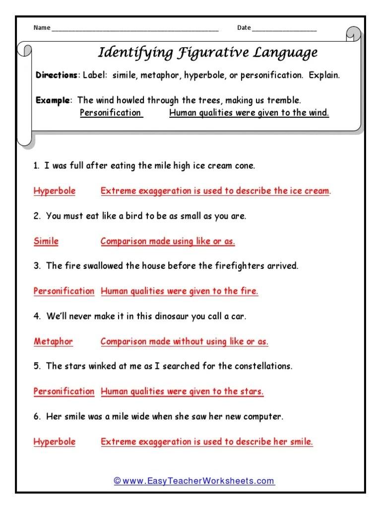medium resolution of Figure of Speech Worksheet