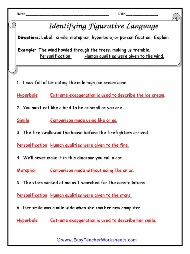 hight resolution of Figure of Speech Worksheet