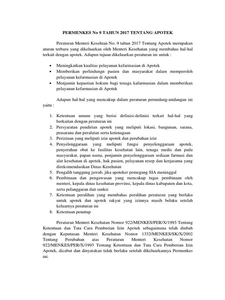 Makalah Permenkes No 9 Th 2017 - PDF Free Download
