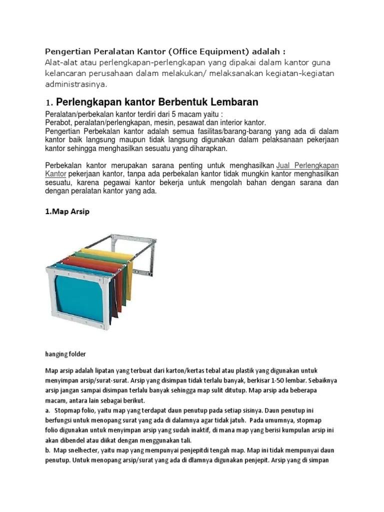 Folder Yang Mempunyai Besi Penggantung Disebut : folder, mempunyai, penggantung, disebut, Pengertian, Peralatan, Kantor