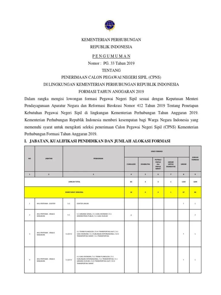 Cpns Kementerian Perhubungan 2019 : kementerian, perhubungan, PENGUMUMAN, KEMENHUB, 2019.pdf