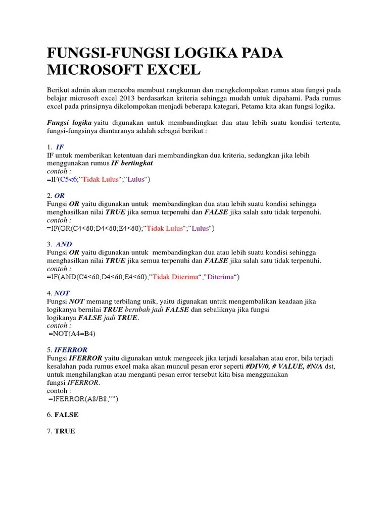 Fungsi Logika Pada Excel : fungsi, logika, excel, Fungsi-Fungsi, Logika, Microsoft, Excel