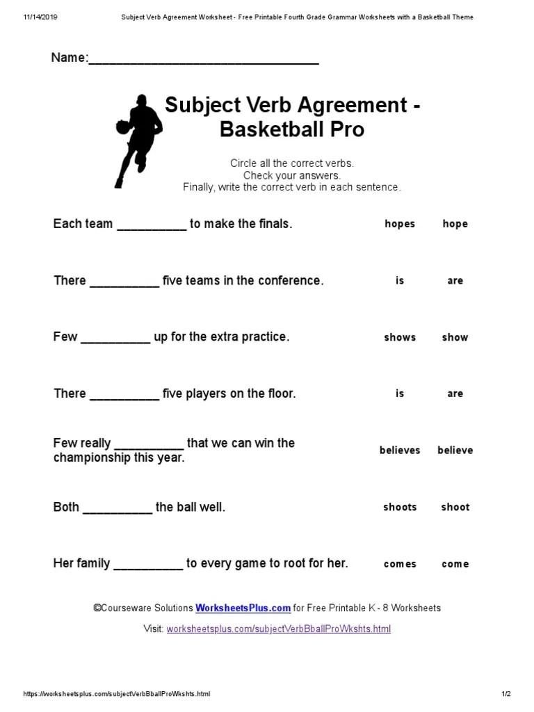 medium resolution of Subject Verb Agreement Worksheet - Free Printable Fourth Grade Grammar  Worksheets with a Basketball Theme   Onomastics   Linguistics