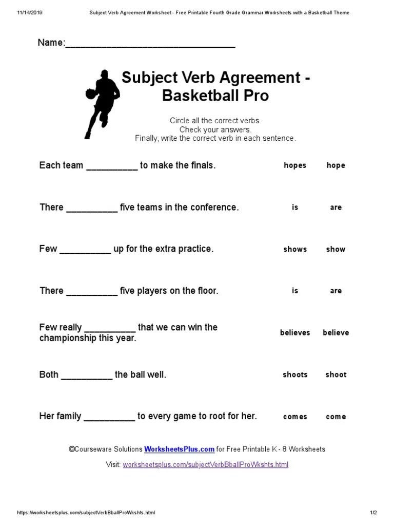 small resolution of Subject Verb Agreement Worksheet - Free Printable Fourth Grade Grammar  Worksheets with a Basketball Theme   Onomastics   Linguistics