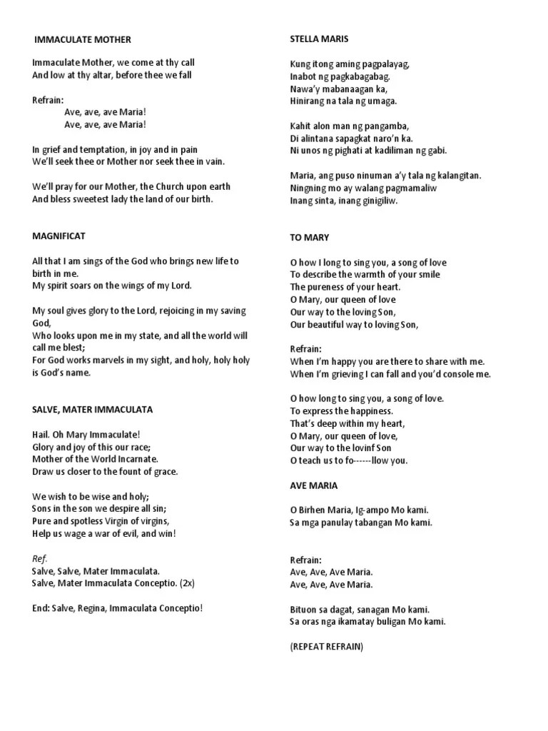 Immaculate Mother (with Lyrics) - Traditional Song - YouTube