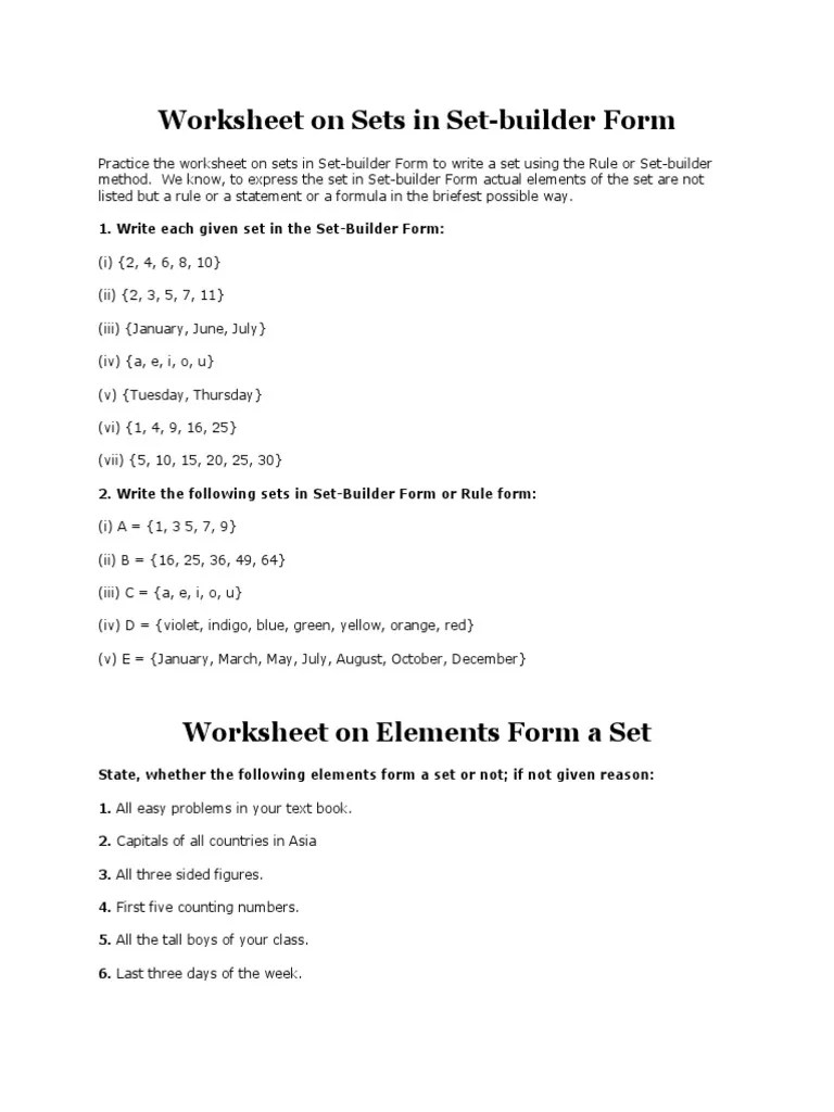medium resolution of Worksheet on Sets in Set-builder Form   Numbers   Mathematical Concepts