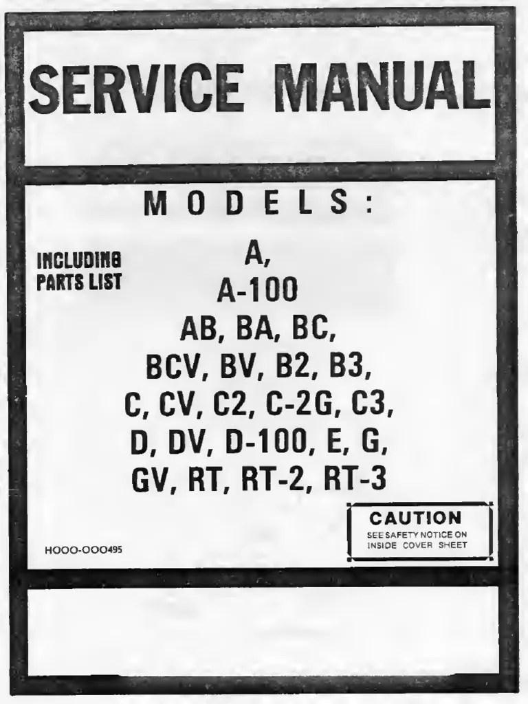 Hammond Service Manual a a-100 BA BC BCV BV B2 B3 C CV C2