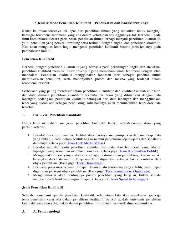 Ciri-ciri Penelitian Kualitatif : ciri-ciri, penelitian, kualitatif, Jenis, Metode, Penelitian, Kualitatif