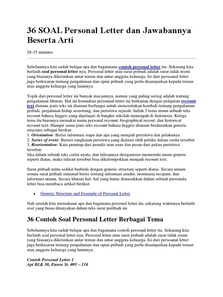 Contoh Soal Personal Letter dan Kunci Jawabannya