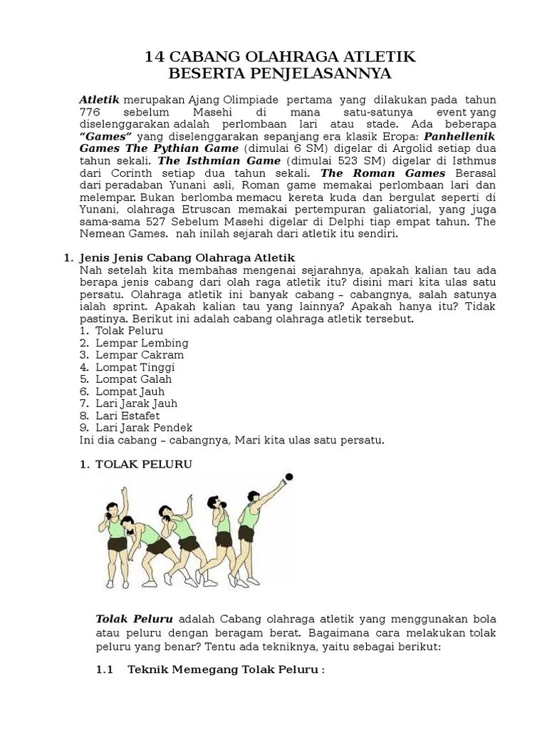 20 Cabang Olahraga Dan Penjelasannya : cabang, olahraga, penjelasannya, Cabang, Olahraga, Atletik, Beserta, Penjelasannya