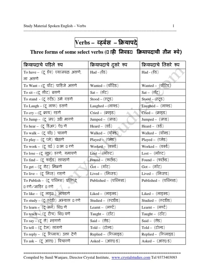 List of english verbs with marathi meaning study material spoken bhosari language also rh scribd