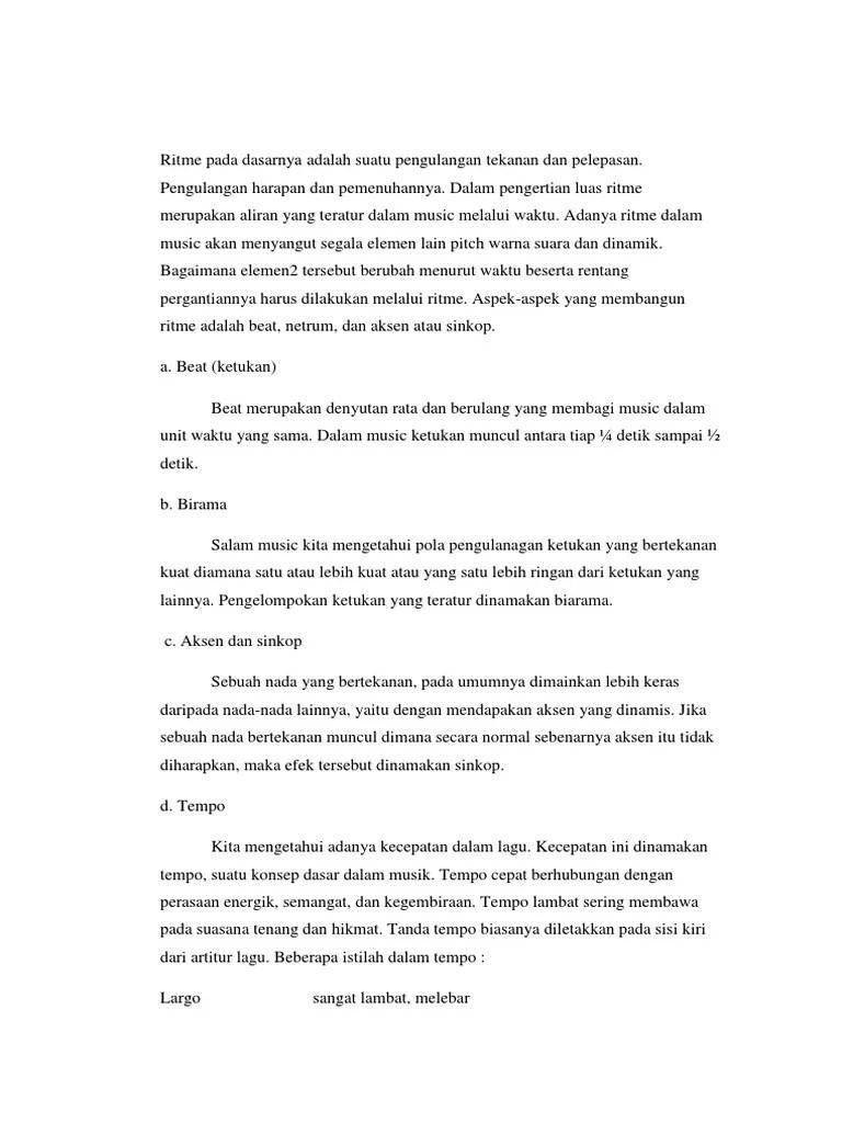 Pengertian Ritme Dan Birama : pengertian, ritme, birama, Ritme, Dasarnya, Adalah, Suatu, Pengulangan, Tekanan, Pelepasan.docx