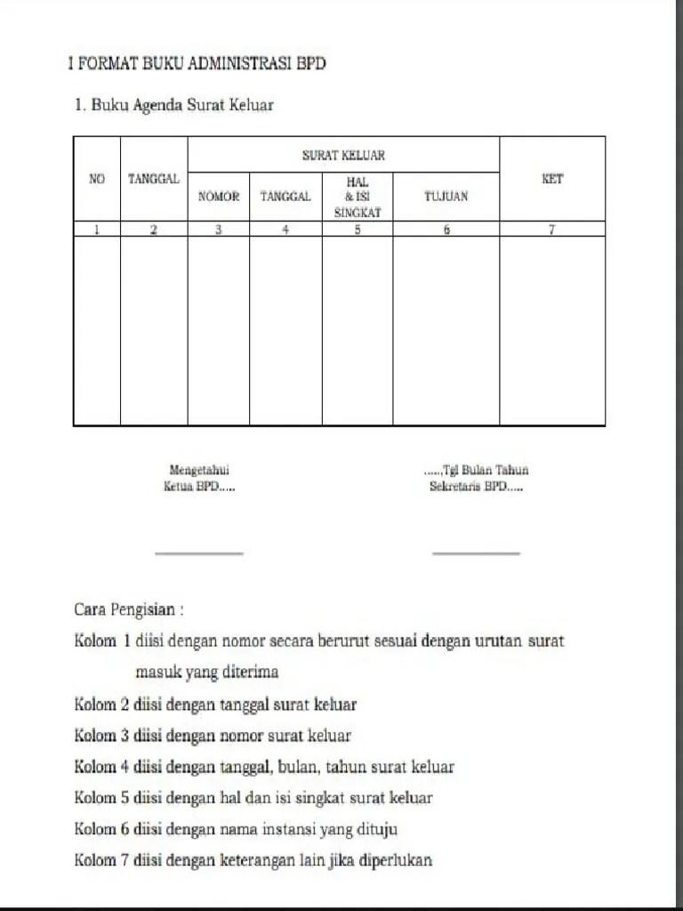 Contoh BUKU AGENDA SURAT KELUAR MASUK Administrasi Tata
