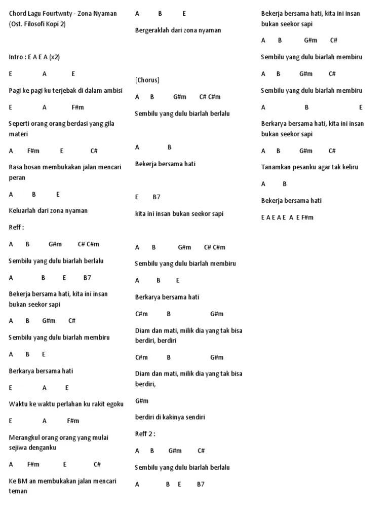 Chord Zona Nyaman Asli : chord, nyaman, Chord, Fourtwnty, Hitam, Putih