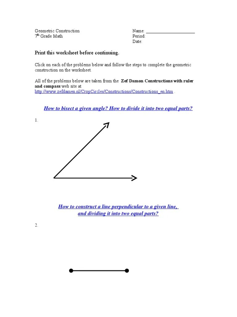 Geometric Construction Worksheet [ 1024 x 768 Pixel ]