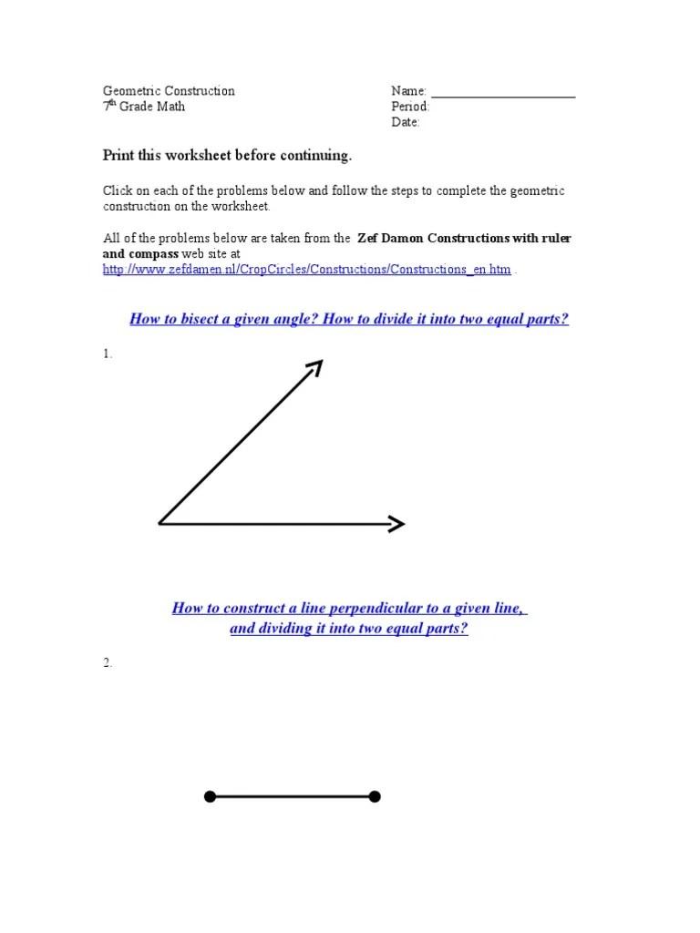 medium resolution of Geometric Construction Worksheet