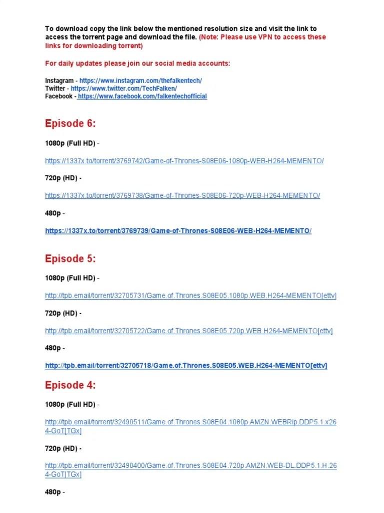 Torrent Game Of Thrones S08e05 : torrent, thrones, s08e05, Thrones, Season, Episodes, Video, Digital, Technology