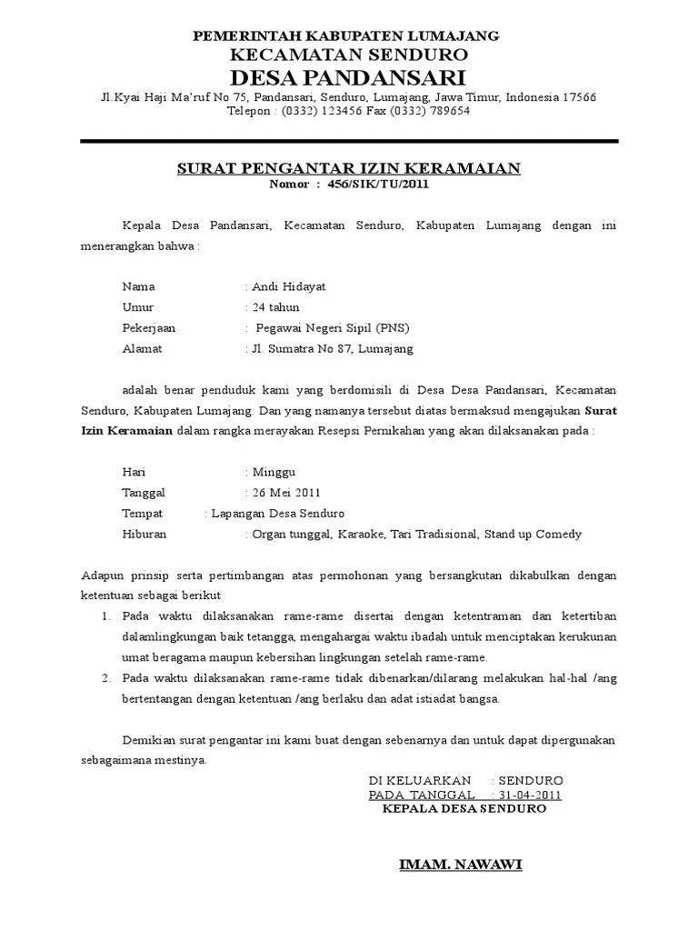 Contoh Surat Izin Keramaian Rt Rw : contoh, surat, keramaian, Surat, Permohonan, Keramaian, Pernikahan